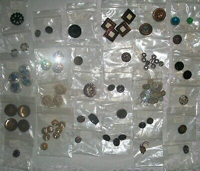 Lot Of 102 Antique Buttons Bakelite Glass Metal George Celluloid Metal 30 Sets