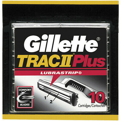 Gillette TRAC II Plus Razor Blade Refill Cartridges - 10 Count (Bulk Packaging)