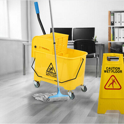 Mini Mop Bucket w/Wringer Combo 5 Gallon Commercial Rolling Cleaning Cart Yellow