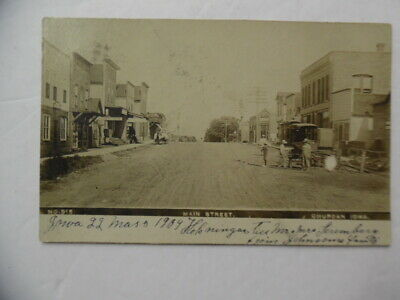 1909 CHURDAN IOWA Main Street View Real Photo Postcard Antique Original RPPC