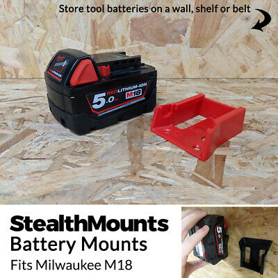 RED BATTERY MOUNT for MILWAUKEE M18 18v Storage Holder Shelf Rack Stand Slots