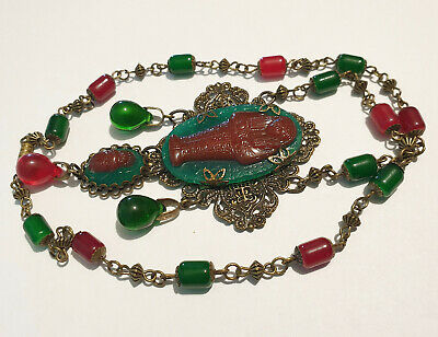 Vintage Art Deco Style Glass Bead Egyptian Revival Double Pendant Necklace
