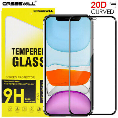 For iPhone 11 Pro X XR XS Max Caseswill 20D Edge Tempered Glass Screen Protector