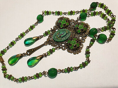 Vintage Art Deco Egyptian Revival Style Glass Bead & Enamelled Pendant Necklace