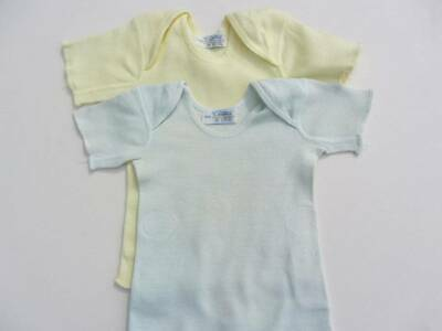 2 Vintage baby vests cotton 20's 30's yellow blue envelope neck 6 months doll