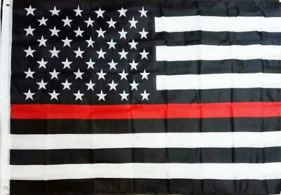 THIN RED LINE FIREFIGHTER AMERICAN FLAG 3 ft. x 5 ft. TWO SIDED