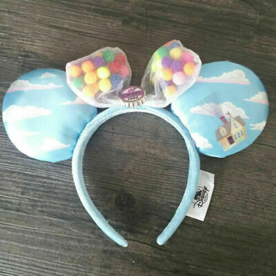 Disney Parks UP Grape Soda Cap Balloons Minnie Mouse Ears Bow Hat Headband - NEW