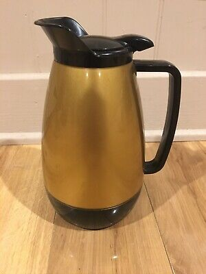 Vintage 1970's Thermo Serv insulated plastic coffee carafe pitcher black gold