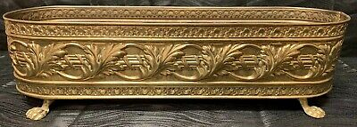 """Vtg Rare 14"""" Brass Planter Pot Window Plant Box Claw Footed Hollywood Regency"""