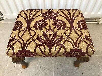 Red / Gold Tapestry Effect Foot Stool