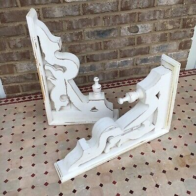 Pair Large Distressed White Wooden Corbels Farmhouse Shabby Chic Architectural