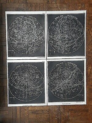 Authentic Antique 19th Century Astronomical Engravings-Celestial Charts-Set of 4