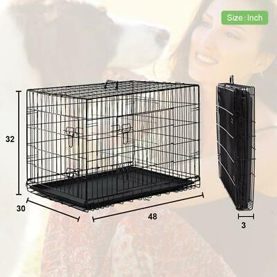 PET CAGE Dog Kennel Folding Crate Metal Double Doors Animal Travel Extra Large