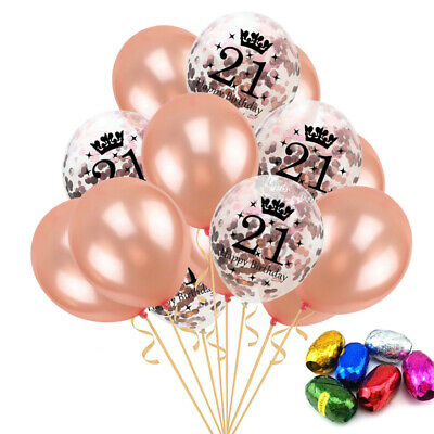 15x Rose Gold 21st Happy Birthday Crown Confetti Balloons Latex Party Decoration