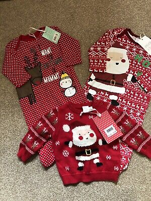 Baby 0-3 Month Baby Bundle Bnwt 3 Items Christmas Jumper  Sleepsuits Miniclub
