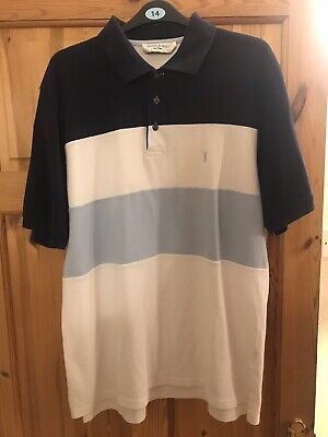 Mens Yves Saint Laurent Polo Shirt Size L White And Blue Good Condition
