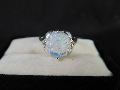 1.22 ct. Round Hand-Carved Floral Opal Ring Simple Sterling Silver
