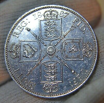 GB 1887 Queen Victoria. Silver Florin  Two Shillings  *Very Nice - High Grade*