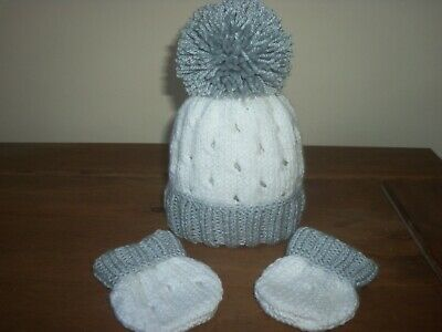 Hand Knitted Baby Hat & Mitts Set-Size 0-3Mths - White/Silver Grey