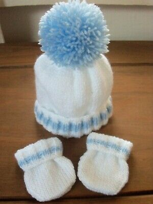 Hand Knitted Baby Hat & Mitts Set - New Born - White/Blue