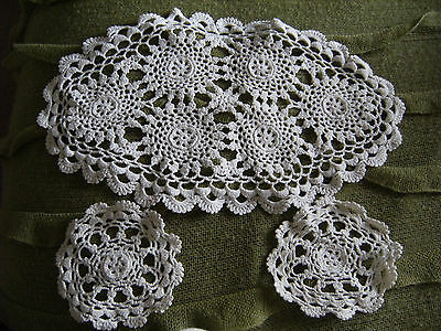 """Hand crochet table mat and two coasters. Irish - 15"""" x 9"""" and 5"""" - vintage retro"""