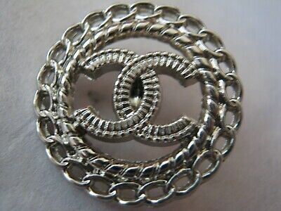 CHANEL 1  silver  BUTTON  sz 20mm  metal  cc logo, 1 pc
