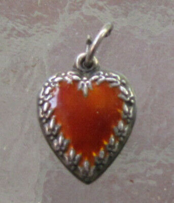 VTG Sterling SILVER Bird  / Fly ON BORDER ORANGE ENAMEL Puffy Heart Charm RARE