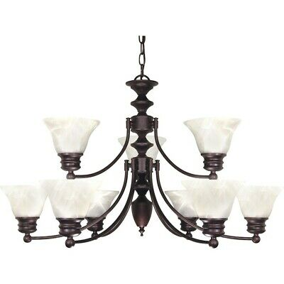 "Nuvo Empire 9 Light 32"" Chandelier w/ Glass Bell Shades - 60-362"