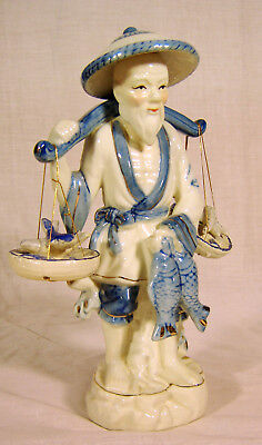 Vintage Chinese Asian Porcelain Figurine Fisherman w/ Fish Gold accents 25% OFF