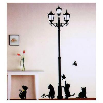 Removeable Cats Under The Street Light Wall Stickers DIY Decal Wall Sticker JJ