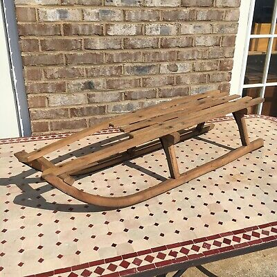 Antique Wooden Snow Sled Sleigh Winter Ice Coaster 44' Long Metal Blades Rustic