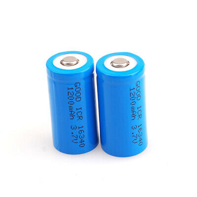 2X 3.7V 16340 Li-ion Rechargeable Battery for Tactical Flashlight Laser Sight