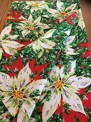 Vintage Colorful White~Red Pointsettia Pattern Fabric CHRISTMAS Tablecloth