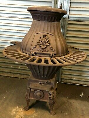 Antique Cast Iron Fireplace Pot Belly Stove/Heater~ Complete