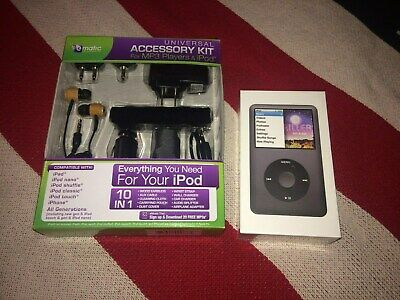 NEW iPod Classic Gen 7 160GB + Ematic 10 in 1 Accessory Kit Sealed Black/Silver