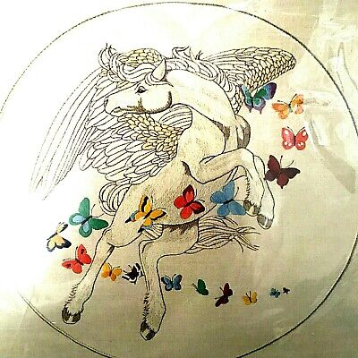 Pegasus and Butterflies 1981 Dimensions Crewel Embroidery Full Kit Unopened