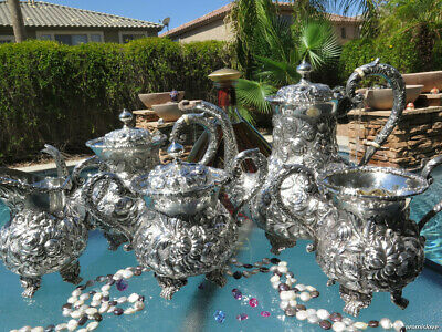 5p RARE SCHOFIELD BALTIMORE ROSE REPOUSSE TEA SET STERLING SILVER OLD HEAVY HUGE