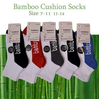 Bamboo Socks Ankle Low Cut Soft Cushion Work Sport Men s7-14 White Black Navy