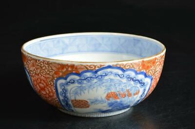 U4640: Japanese Old Imari-ware Colored porcelain Kashiki DESSERT BOWL/dish