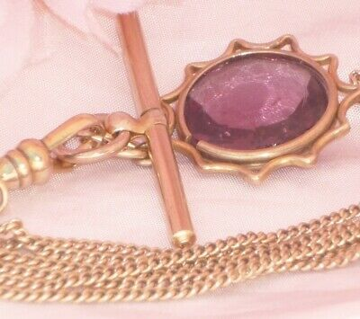 RARE** LONG VICTORIAN 10ct 10K ROSE GOLD CURB LINK WATCH CHAIN TBAR & FOB