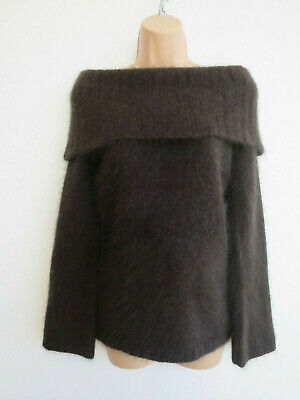 Vintage angora jumper statement cowl neck off the shoulder chocolate brown S