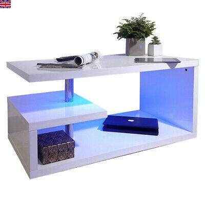 High Gloss Coffee Table Modern White Living Room LED Side End Table TV Stand