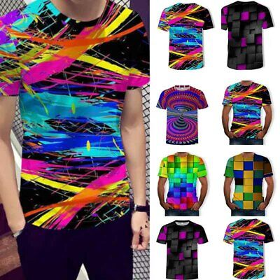 Funny Hypnosis 3D Colorful Geometry Printed Tee Shirt Casual Short Sleeve Tops