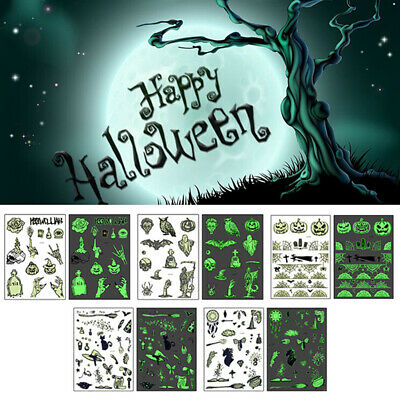 Halloween Luminous Temporary Tattoo Tombstone Fake Witch Glowing Tattoo StickSC
