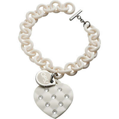 Bracciale Donna Ops Objects Matelassè Crystal Opsbr-230 Cuore Bianco in Silicone