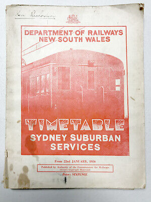 Rare 1956 Timetable SYDNEY SUBURBAN SERVICES with Colour Map