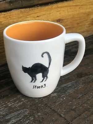 Rae Dunn Spooky Black Cat Mug Halloween Orange Artisan Collection By Magenta NEW