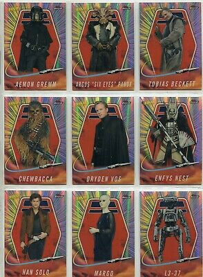 Star Wars Finest 2018 Complete 20 Card Chase Set Solo A Star Wars Story