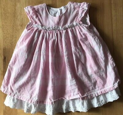 Mothercare Baby Girl Girls 6-9 Months Cotton Pink White Lined Dress