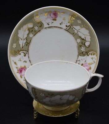 Royal Crown Derby Bloor Factory Pink Roses Grey & Gold 1830's Tea Cup & Saucer